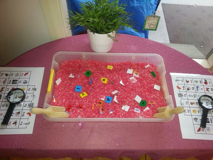 Alphabet Search. Children find letters and match it up to the letter picture sheet. Younger children may need some assistance. This was done during group time.   *letter/picture association  *magnify glass  *coloured rice *Alphabet Sheet with a related picture.