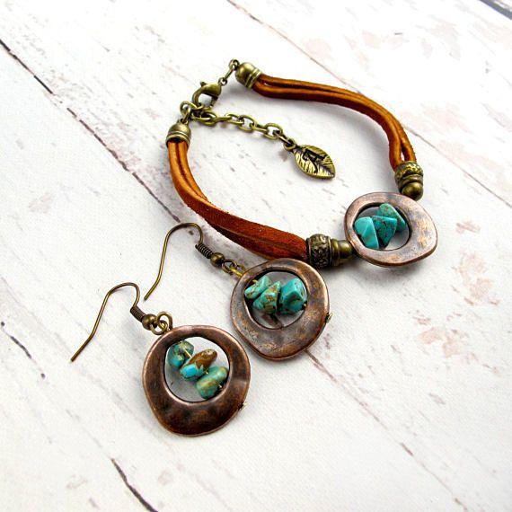 Boho Turquoise Jewelry Set-Bohemian Turquoise Bracelet-Boho Turquoise Earrings-Turquoise Bracelet Cuff-Boho Leather Bracelet-Hippie Bracelet $44.99
