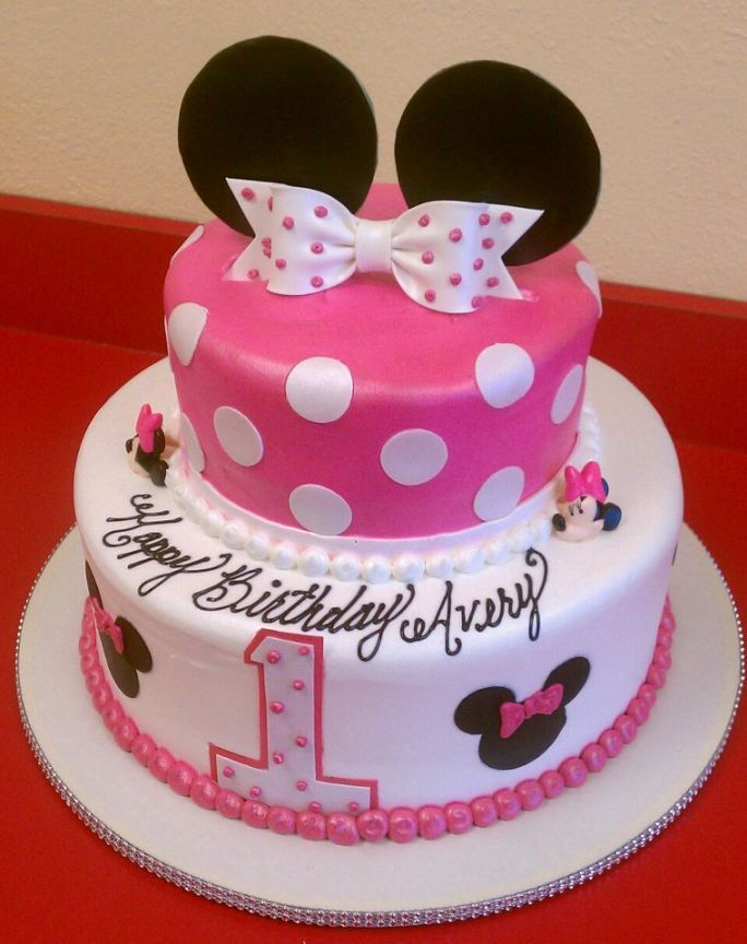Minnie Mouse Cake Ideas Minnie Mouse Birthday Party Ideas Mickey Mouse Disney Baby First Birthday Cake Minnie Mouse Birthday Cakes First Birthday Cakes
