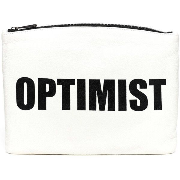 Hayden-Harnett Optimist/Pessimist Bardot Clutch ($168) ❤ liked on Polyvore featuring bags, handbags, clutches, purses, words, accessories, white leather purse, real leather handbags, oversized clutches and genuine leather handbags