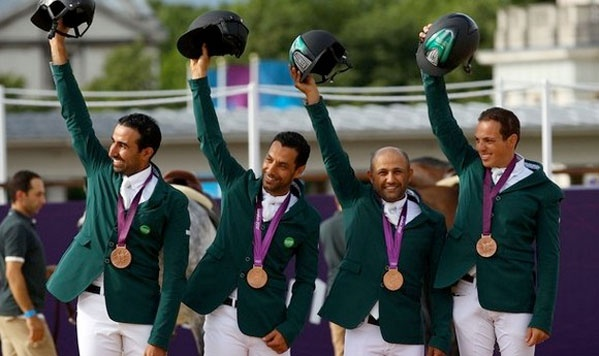 Saudi Arabia secures first historic team medal in Jumping at London 2012  ♥ — with Prince Abdullah bin Miteb, Kamal Bahamdan, Ramzy Al Duhami and Abdullah Sharbatly