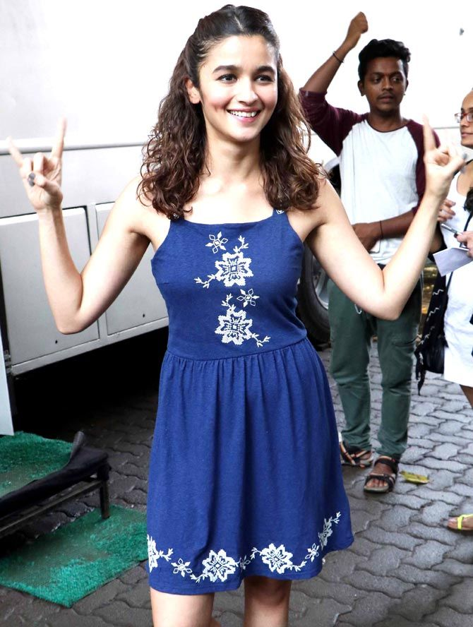 Alia Bhatt is all smiles for the cameras at Mehboob Studio.