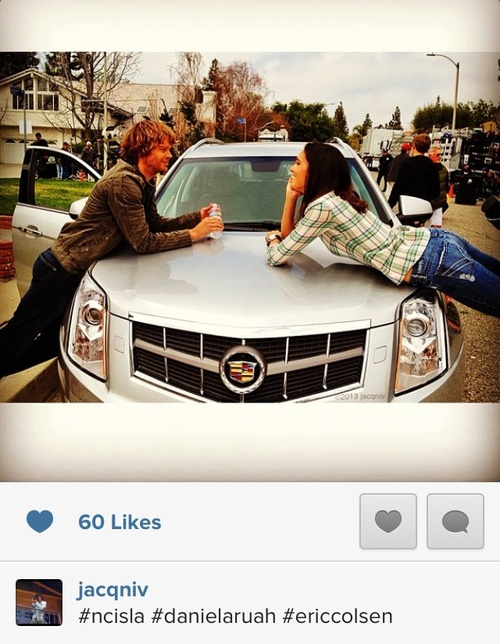 Eric Christian Olsen & Daniela Ruah on set...my dad and I enjoy this show...for those two reasons right there. Lol and it's a great show.