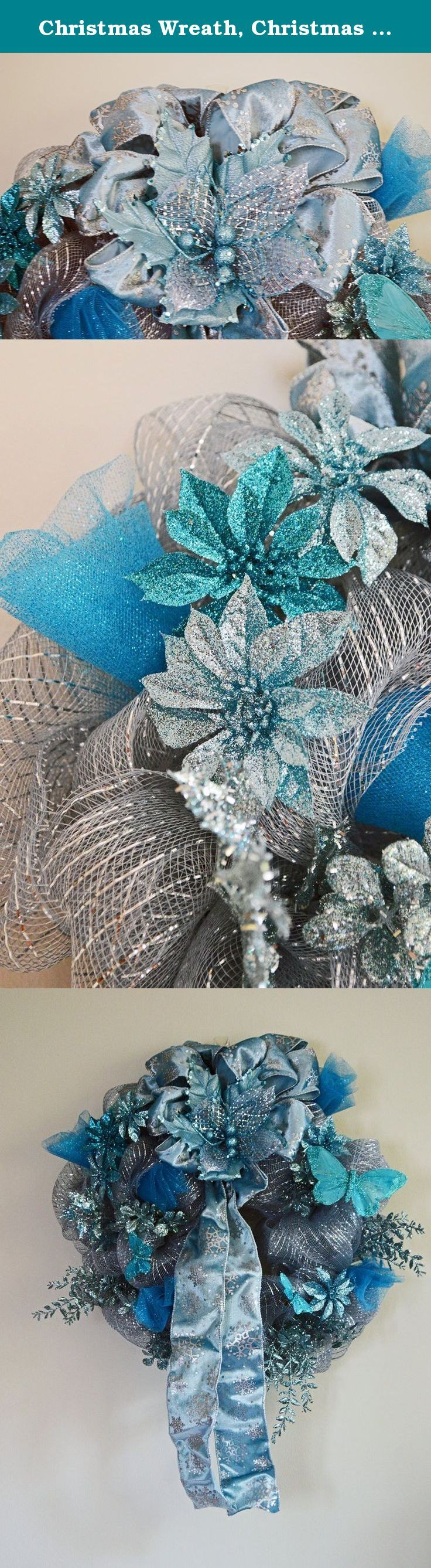 """Christmas Wreath, Christmas Deco Mesh Wreath, Door Wreath, Holiday Wreath, Teal Wreath, Winter Magic, Ready to Ship!. Reminiscent of the old Victorian days this wreath has lots of aqua colored items on it. -Deco mesh base -Silk Floral picks and butterflies -Blue ribbon -Unique, balanced design -Item measures 18"""" X 18"""" X 7"""" -Use shipping box for storage or a tote This uniquely colored wreath will be the only thing your holiday guests will talk about when they visit. The colors are…"""