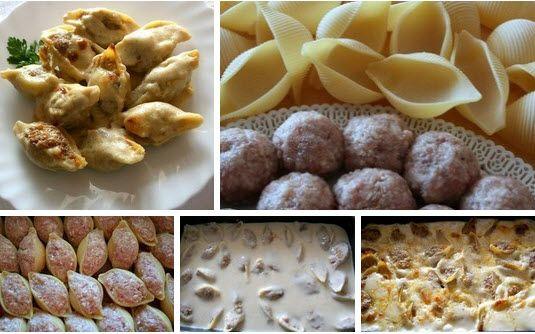 """Ракушки фаршированные рецепт Макаронные изделия """"ракушки"""", можно фаршировать любой любимой начинкой, будь это обжаренные грибы с луком, рикотта, мясной фарш или мясной фарш с рикоттой."""