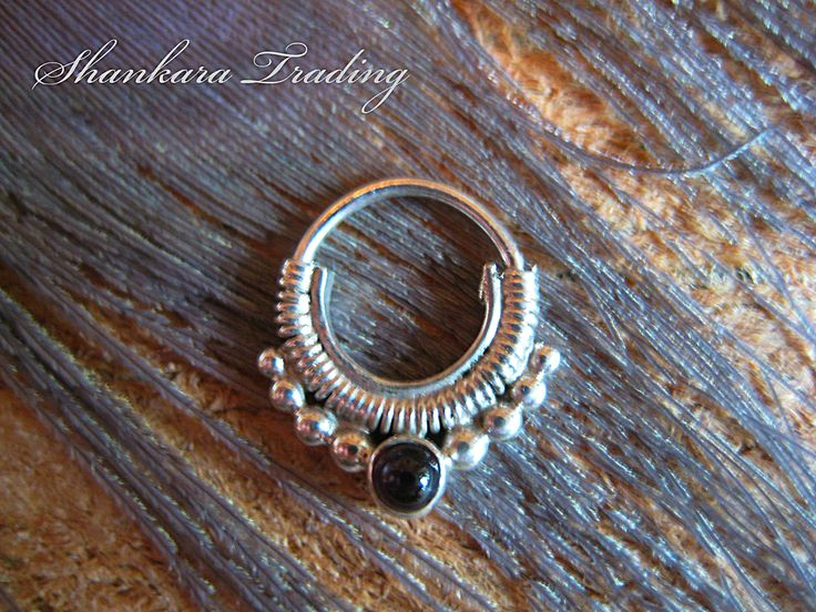 Septum Ring with Onyx Stone, Indian Nose Ring, Ethnic Septum Ring