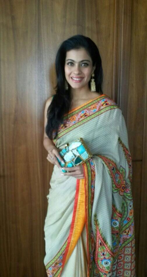 Unlike other days, Kajol let her hair down with the sari. #Bollywood #Fashion #Style #Beauty