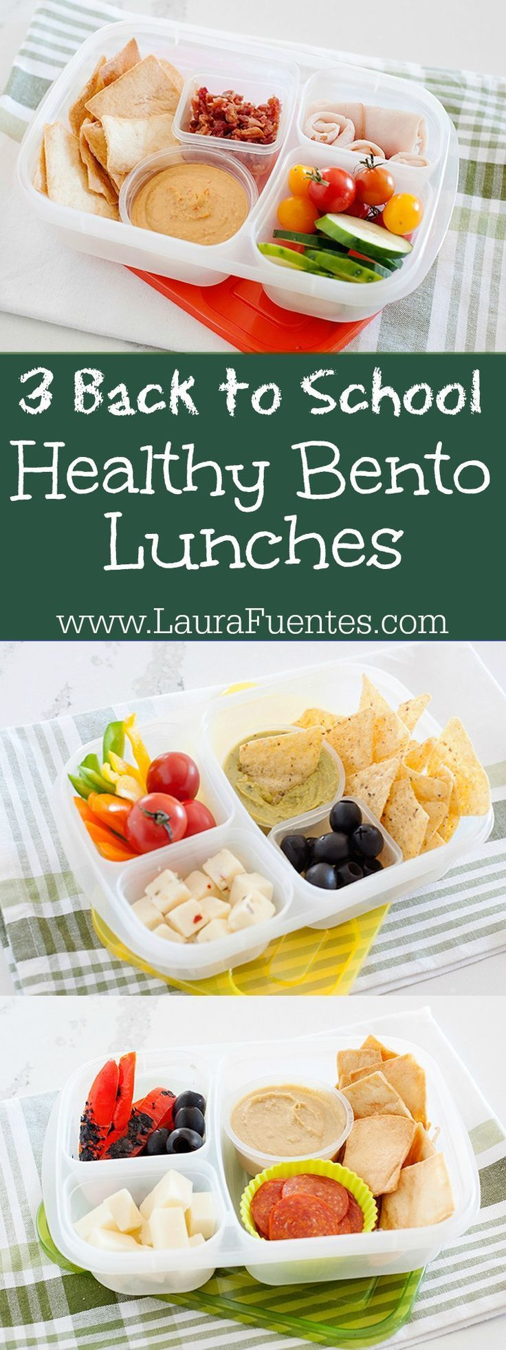 Easy school lunches that you can pack in minutes! Check out these 3 healthy bento box lunch ideas with fresh ingredients. #lunchbox #easylunchboxes