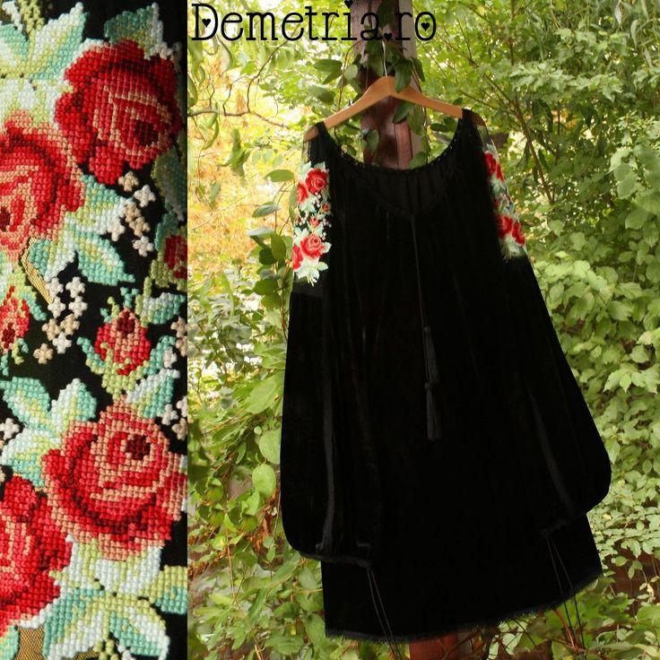 Black velvet Demetria blouse
