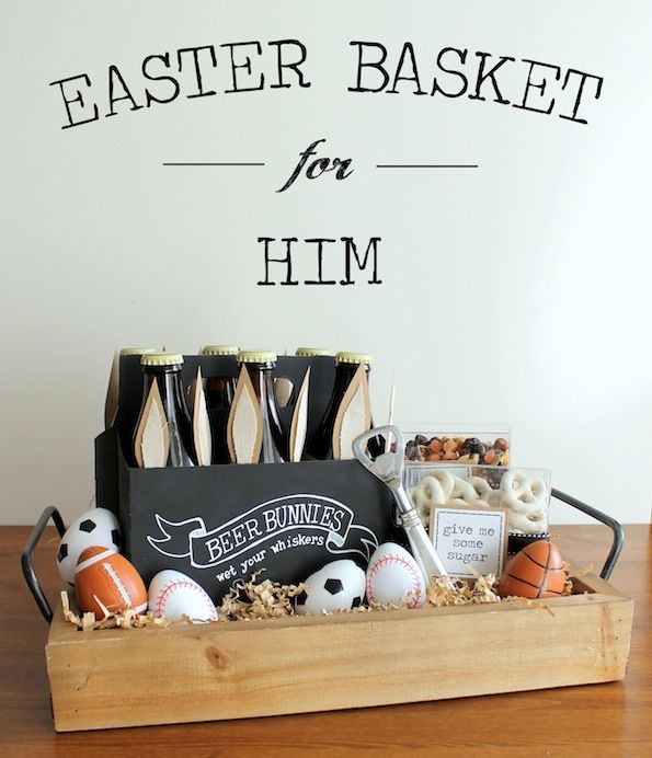 Don't leave the guys out this Easter! Make your husband a manly custom Easter basket. How cute are those bunny-ear beers?