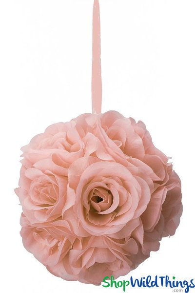 flower ball silk rose pomander kissing ball 6 1 2 blush pink rh pinterest com