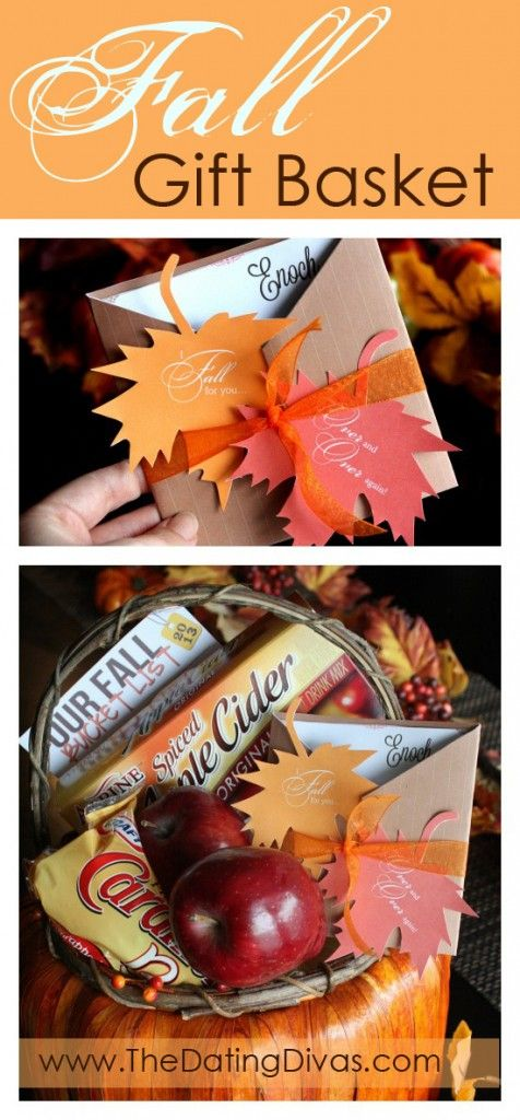 This is DARLING! Free printable card and ideas for a fall-themed gift basket. www.TheDatingDivas.com #fallgiftbasket #freeprintable