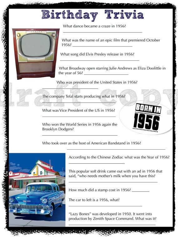 This is a great game for a birthday party for anyone born in the 50s! Someone turning 55-65 years old. Great 60th birthday party game!  WHATS