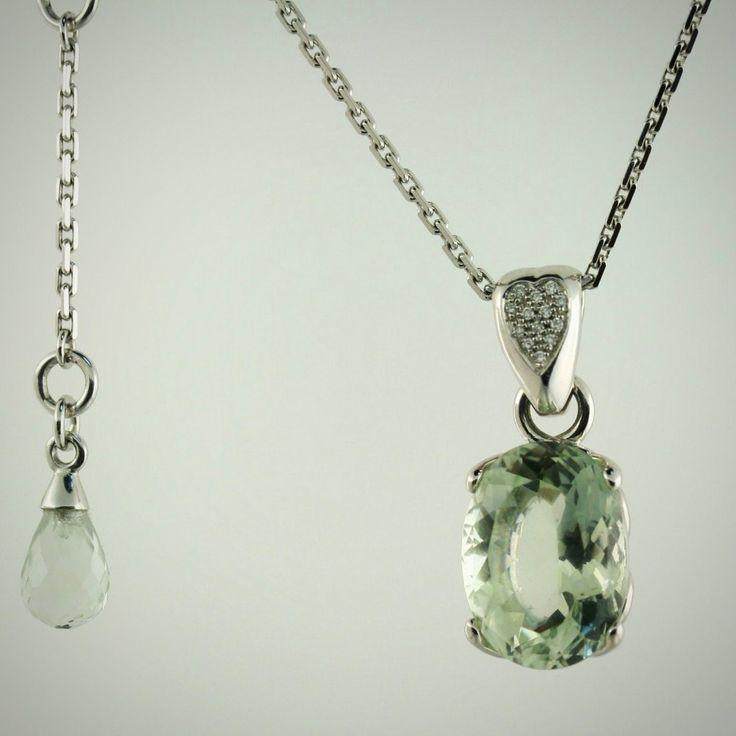 Prasiolite Diamond Pendant 14k White Gold Necklace