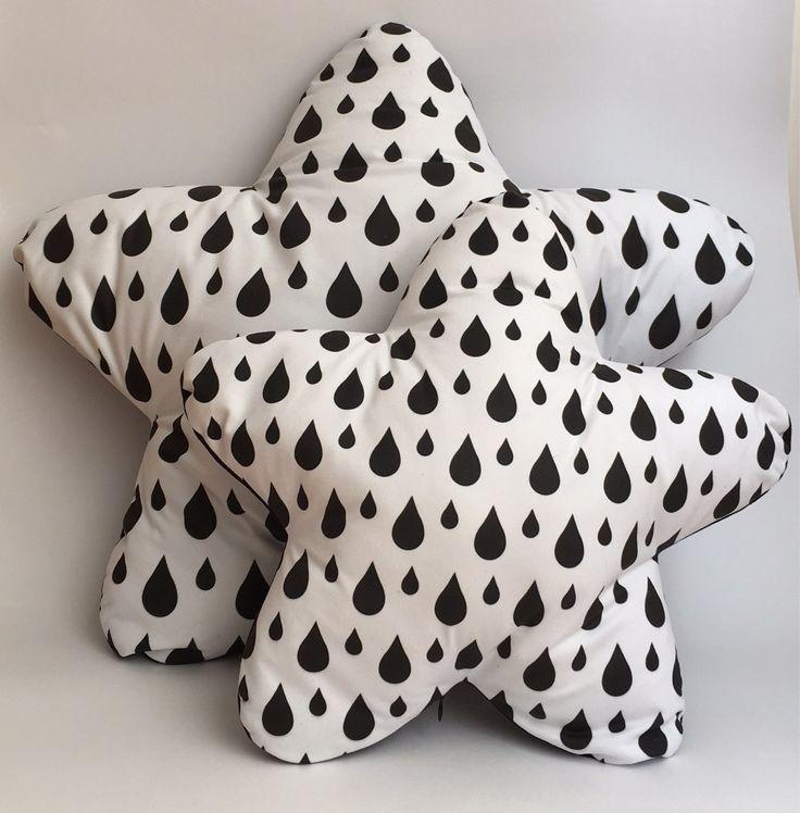 Black drops star cushion