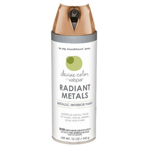 Add radiant, metallic shine to your project with Devine Metallic Copper Finish spray paint by Valspar: <br> -Lustrous metallic finish infused with premium metal flakes and light-embracing pigments.<br> -Flawless, ultra-smooth metallic color for interior use on wood, metal, plastic, glass and more.<br> -Dries quickly, recoat in just 5 minutes.<br> -SmoothTouch™ finger pad makes painting more comfortable.<br> -360-degree spray valve lets you spray at any a...