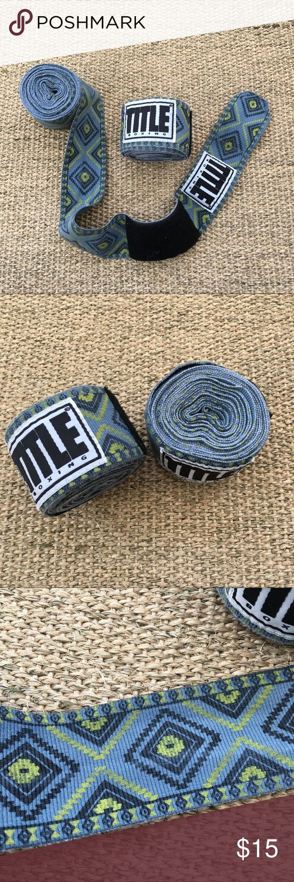 """TITLE Boxing Club Blue/Green Tribal Print Wraps Well used condition. Standard adult 180"""" long wraps. Material is a little thicker than most wraps. 🐾 Pet-friendly, smoke-free home. 🚫 No trades. No holds. 📦 Fast shipping! 🙋🏻 Considering all reasonable offers! TITLE Boxing Club Accessories"""