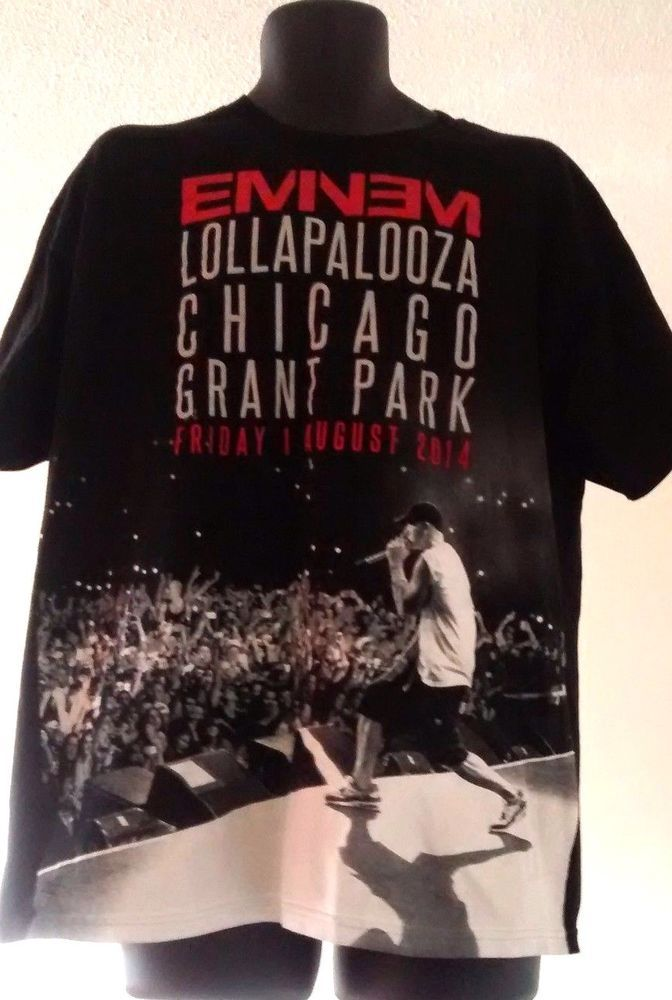 Eminem Lollapalooza 2014 Grant Park Chicago Crowd Photo T Shirt Size XL #Alstyle #GraphicTee