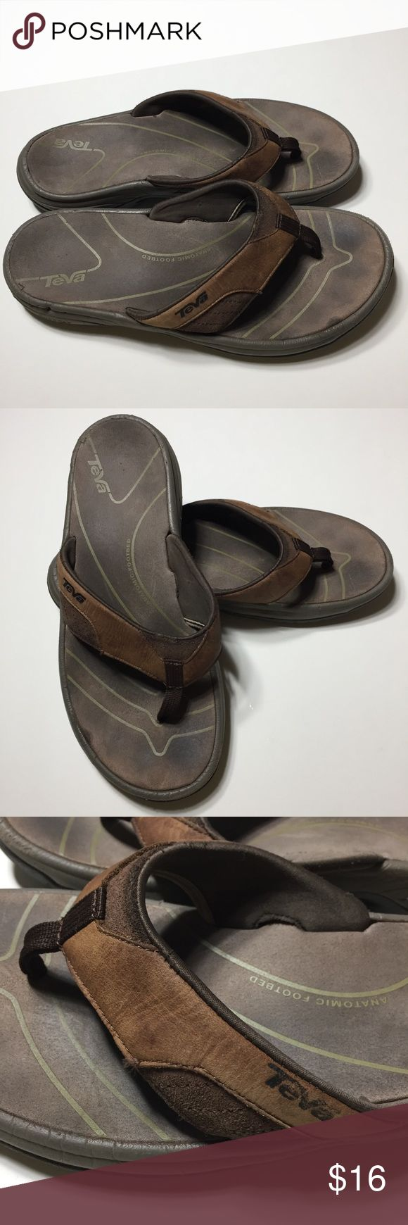 Teva Men's Leather Flip Flops Size 9. Used but in functionally good condition. Teva Shoes Sandals & Flip-Flops