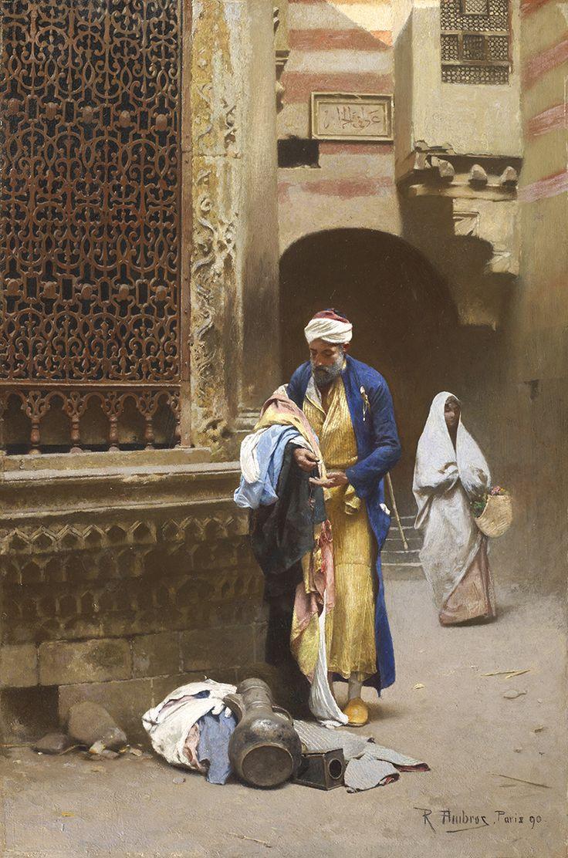 Raphaël Ambros (1854-1895) 'Fabrics merchant', oil on panel, 46 x 31 cm. 1890.