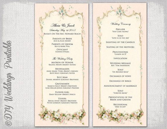 Printable Wedding Program Template Vintage Parisian Order Of Service Blush Pink Diy