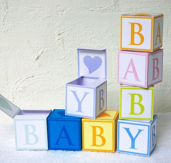 6 Baby Cube Gift Boxes  Favor Box Treat Box  by paper4download