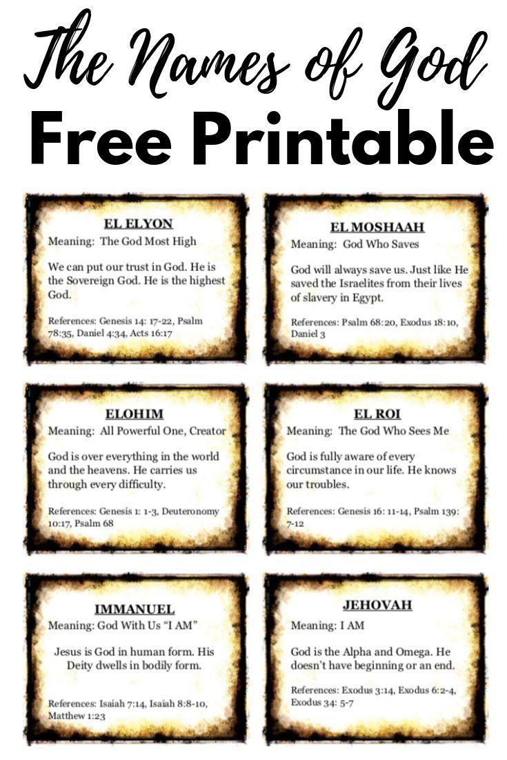 Terrible image throughout free printable names of god