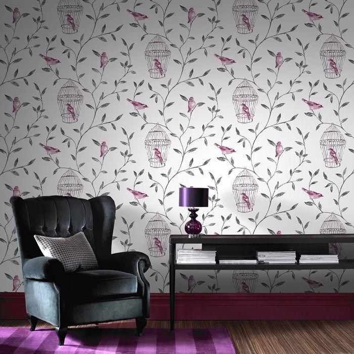 Birds Cages Pink Wallpaper Bird Wall