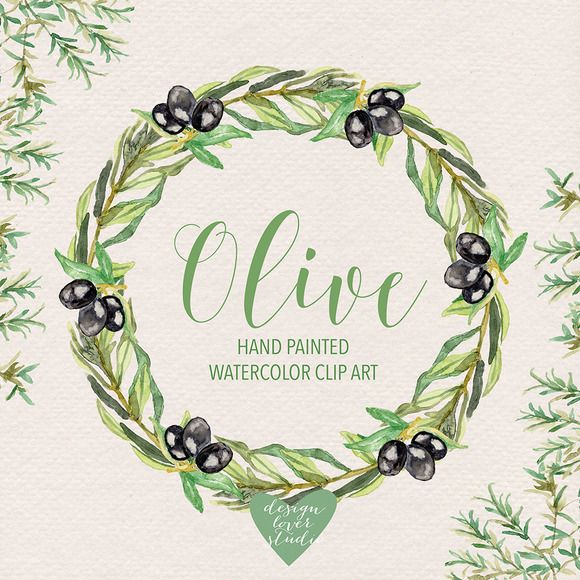 Watercolor olive  by designloverstudio on @creativemarket