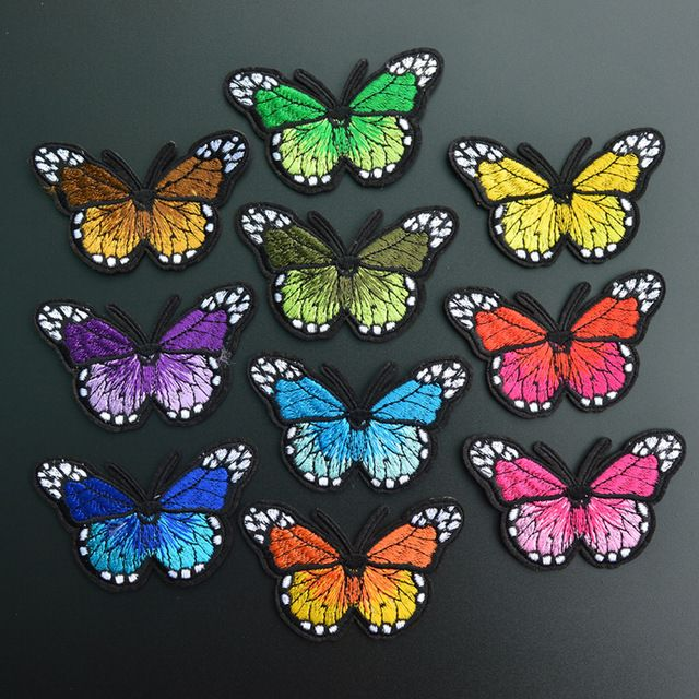 10PCS/LOT 7*4.5CM Butterfly Embroidery patch flower appliques iron on patches for clothes bags sew on applique