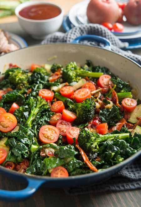 Broccoli, Cherry Tomato, Italian Kale, and Onion Saute Recipe | Foodal.com