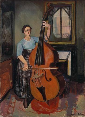 Woman with a Double Bass - Suzanne Valadon, 1908 Paris, France  Post-Impressionism  Petit Palais, Geneva, Switzerland
