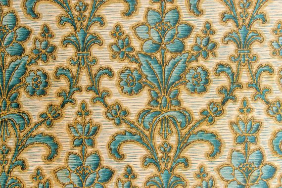 Vintage Wallpaper Sample From 1926 With Climbing Flowers Pattern Blue And Grey