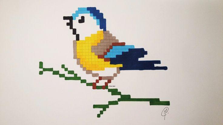 pixel art facile | Cute Bird Drawing - Very Easy Pixel Art (+ Unicorn Bonus ...