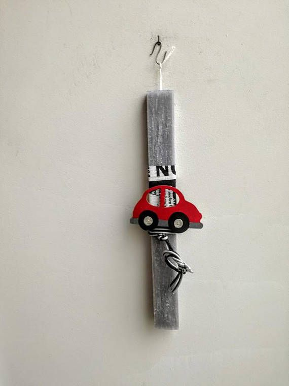 Car Easter candle red car Easter candle for boys red wooden
