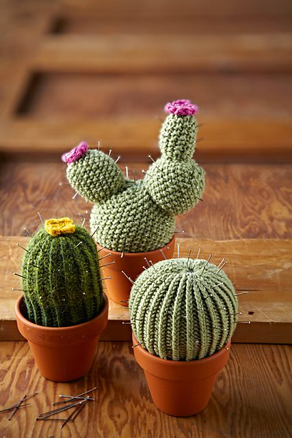 Free knitting pattern for Cactus Pincushions –  Lucille Randall designed these t…