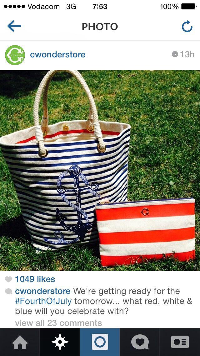 Nautical striped anchor bag c-wonder store