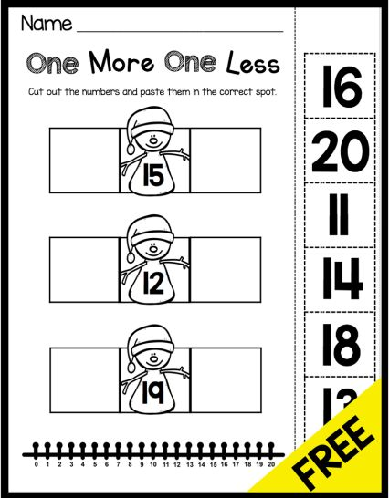 FREE Snowman One More One Less worksheet - kindergarten common core math standard - great activity for using a number line!