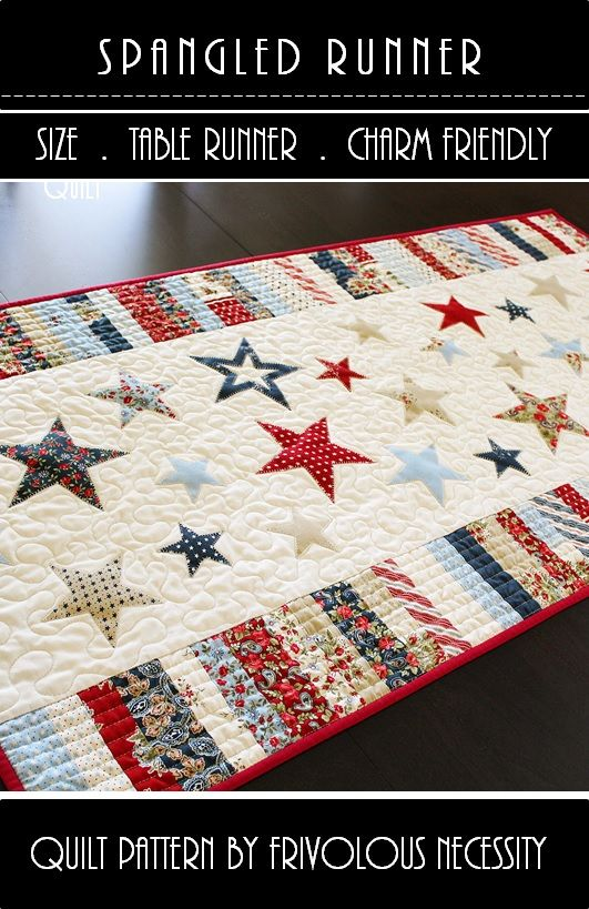 Stars put on with heat and bond then sewed on. Then the table runner was quilted. 4th of July runner
