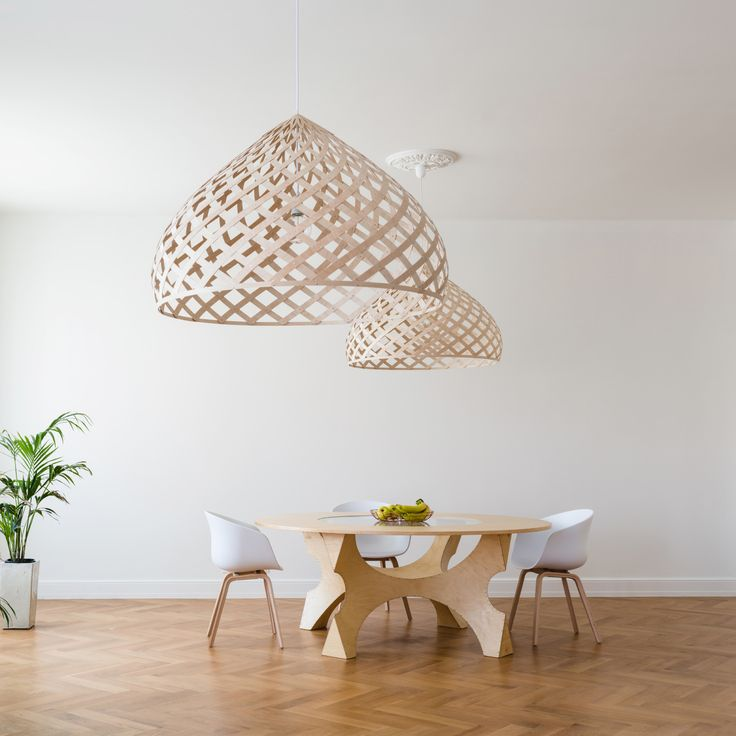 Jaanus Orgusaar's design lamps are made from Finnish birch craft plywood.