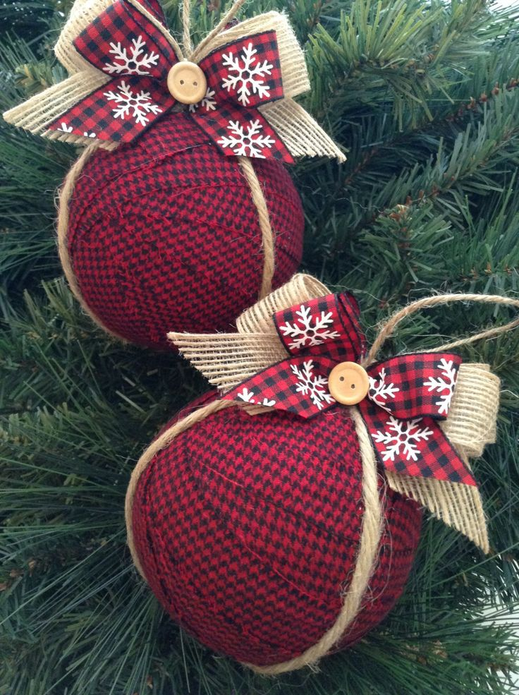 Ornaments / Christmas Fabric Ornaments / Xmas Tree Ornaments / Red - Black - Burlap Xmas Ornaments / Set of 2 / Rustic Xmas…