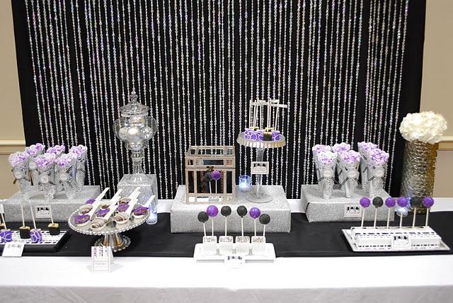 Sparkle Glitter Silver And Purple Dessert Table Purple