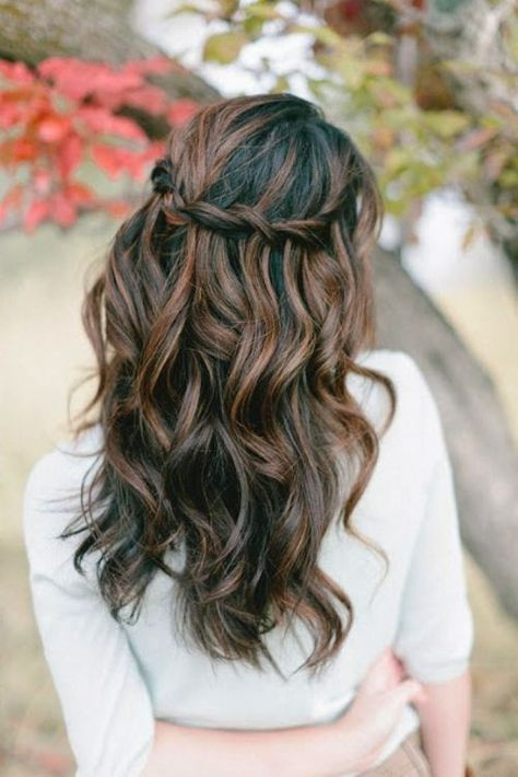 NEED to have my hair dyed like this. Love the half up waterfall braid. Could be good even for a semi-formal dance.