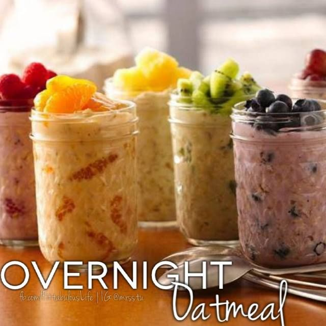 Overnight Oatmeal 1 container (6 oz) Greek yogurt,  1/4 cup uncooked old-fashioned or quick-cooking oats. Instructions: In container with tight-fitting cover, mix yogurt and uncooked oats.  Cover; refrigerate at least 8 hours but no longer than 3 days before eating. Fruit optional.