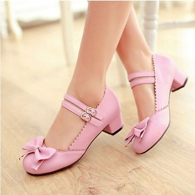 Trendy Women's Mary Janes Buckle Strap Low Heel Pumps Lolita Bowknot Shoes  UK EW
