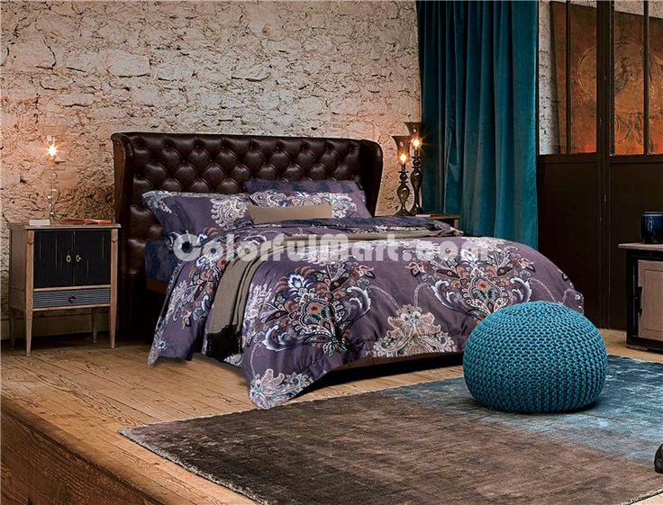 Nancy purple bedding set luxury bedding collection pima for Pima cotton comforter
