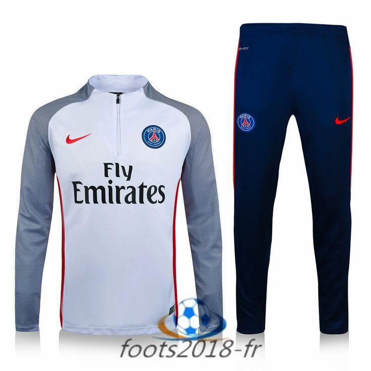 Nouveau Survetement de foot Paris PSG Blanc Printing 2016 2017