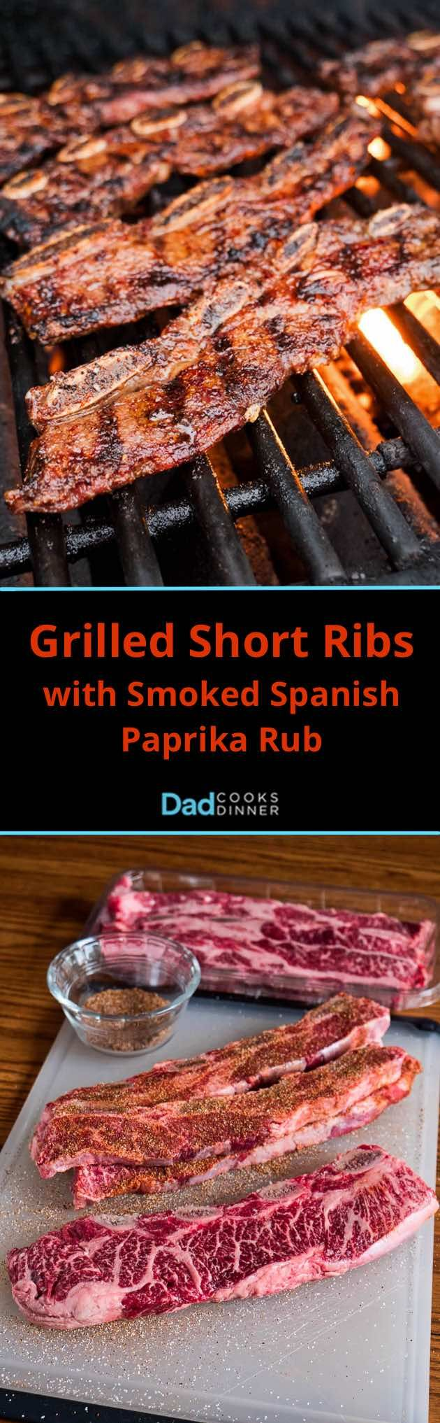 Grilled Short Ribs with Smoked Spanish Paprika Rub. Thin cut flanken style short ribs on the grill with a quick, easy spice rub. | DadCooksDinner.com via @DadCooksDinner