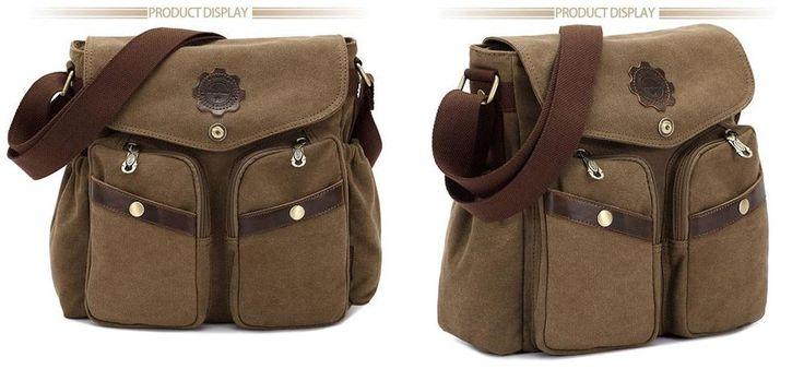 Kaukko Shoulder Bag Unisex Sling Bags Fashion Canvas Khaki Bags Outdoor Gear…