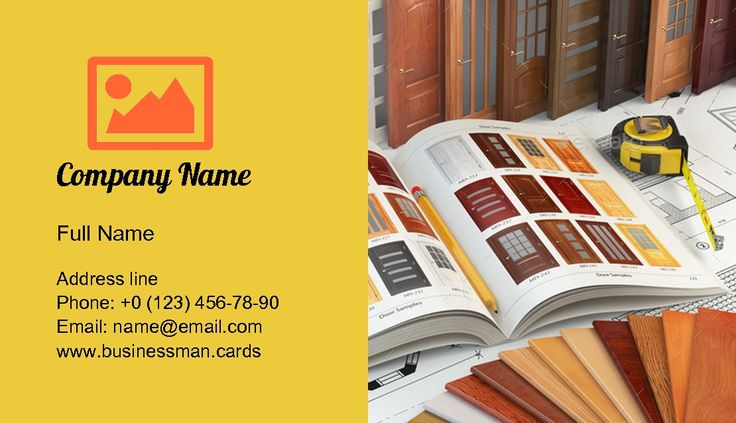 Business card template Wooden doors, catalog with samples of doors and wood samples — visiting card constructor over yellow background & Wooden doors catalog image, design created for merchandise indoor